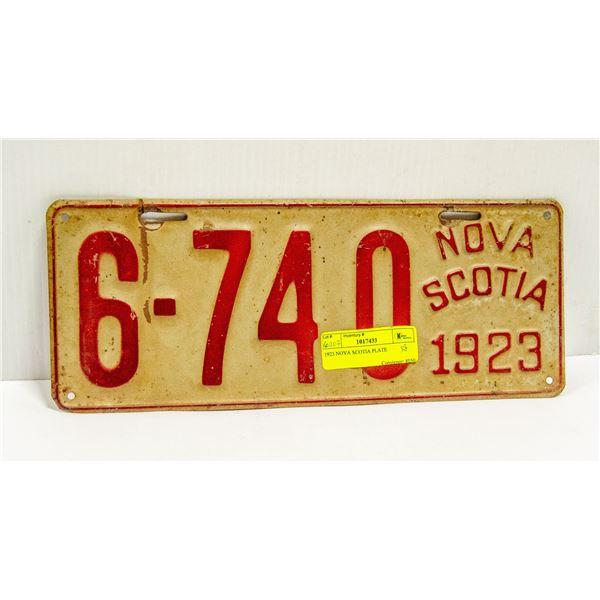1923 NOVA SCOTIA PLATE
