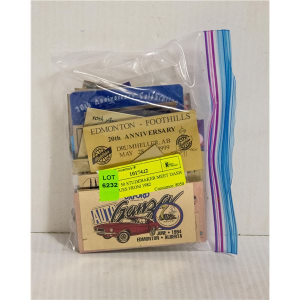 BAG OF 50 STUDEBAKER MEET DASH PLAQUES FROM 1982