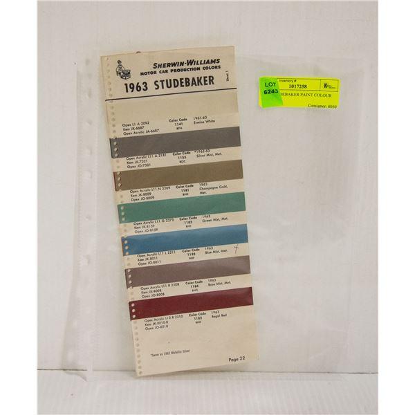 1963 STUDEBAKER PAINT COLOUR CHIPS