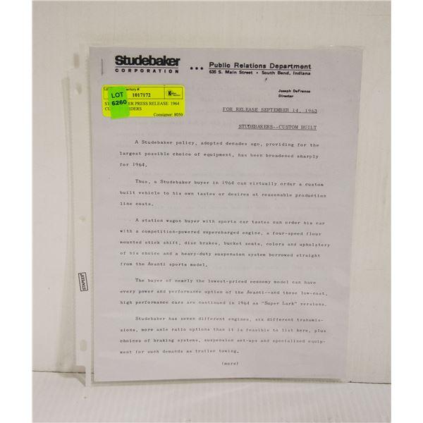 STUDEBAKER PRESS RELEASE  1964 CUSTOM ORDERS