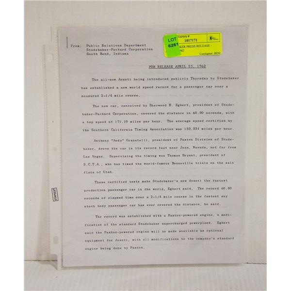 STUDEBAKER PRESS RELEASE - AVANTI 1962