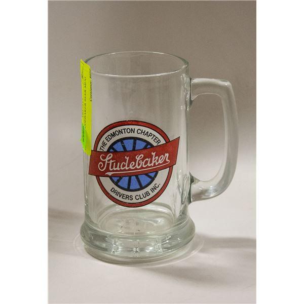 GLASS STUDEBAKER BEER MUG