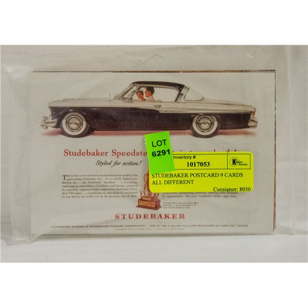 STUDEBAKER POSTCARD 9 CARDS ALL DIFFERENT