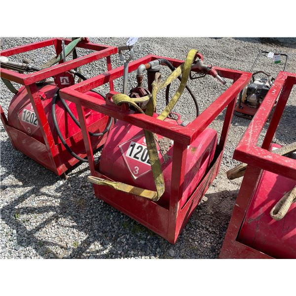 *RED 230L DIESEL TIDY TANK STORAGE TANK WITH FULL CRANE LIFTING CAGE, STRAP, FILTER & HAND PUMP,