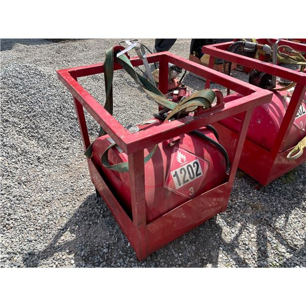 *RED 230L DIESEL TIDY TANK STORAGE TANK WITH FULL CRANE LIFTING CAGE, STRAP, & HAND PUMP,