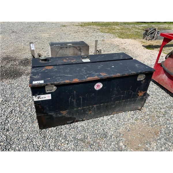 BLACK TIDY TANK SERVICE TRUCK 450L DIESEL STORAGE TANK WITH TOOL BOX, ELECTRIC FUEL PUMP & SPILL KIT