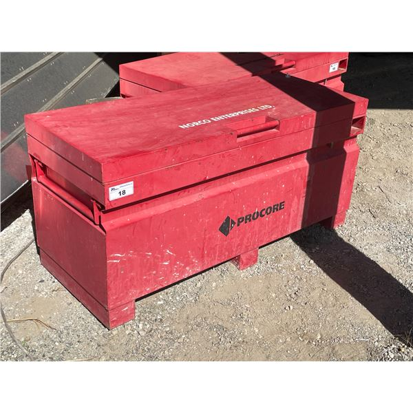 """RED PROCORE 60""""W X 24""""D X 28""""H HEAVY DUTY JOB SITE TOOL CHEST"""