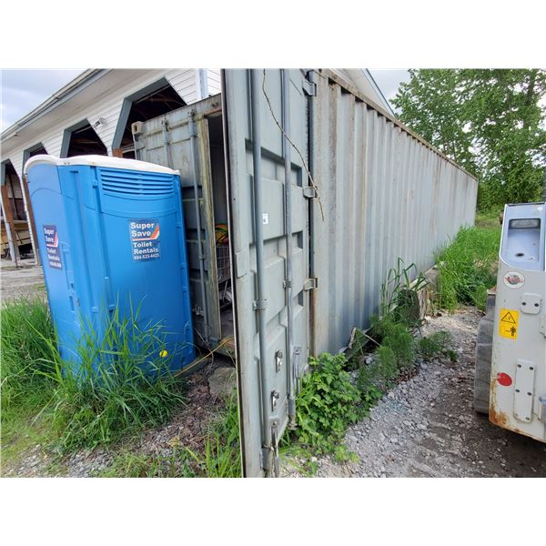 *GREY 45' STEEL TRANSPORT SEA CONTAINER WITH DUAL SWING REAR BARN DOORS & CAMS ( CONTENTS NOT