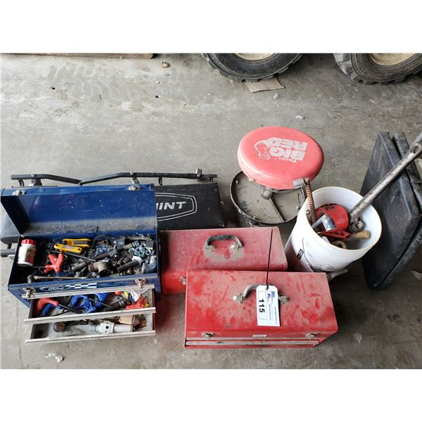 3  ASSORTED TOOL CHESTS WITH TOOL CONTENTS, SHOP STOOL, CREEPER, BUCKET OF PIPE WRENCHES,