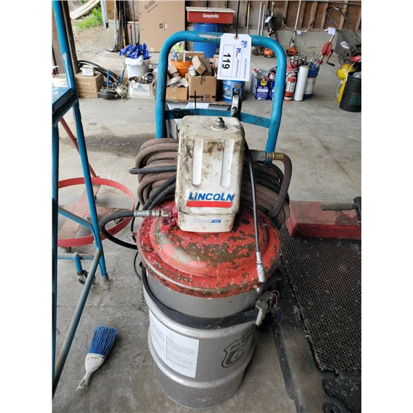 LINCOLN PNEUMATIC MOBILE GREASE DISPENSER WITH CONTENTS