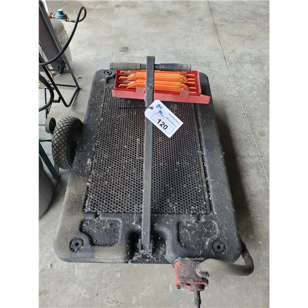 PORTABLE HAND PUMP OIL DRIP CART, EMERGENCY TRIANGLES & FLARES