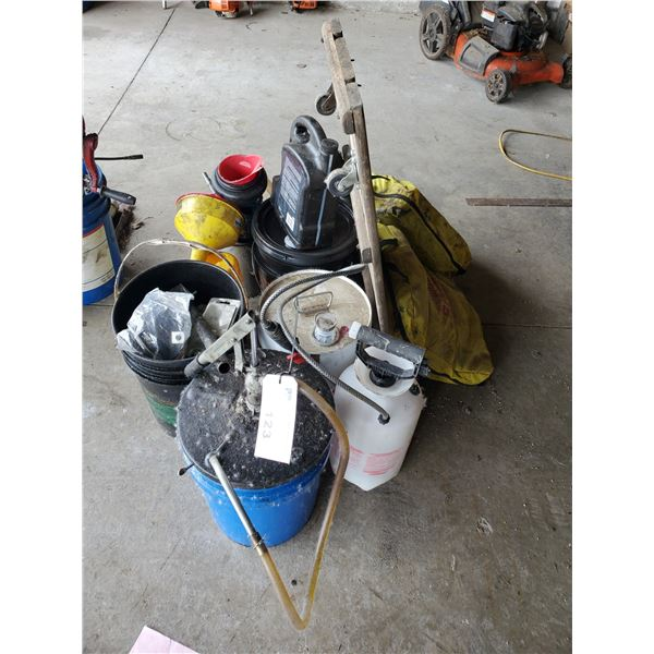5 GAL PAILS OF LUBRICANTS, FUNNELS, SPILL KITS & PUMP