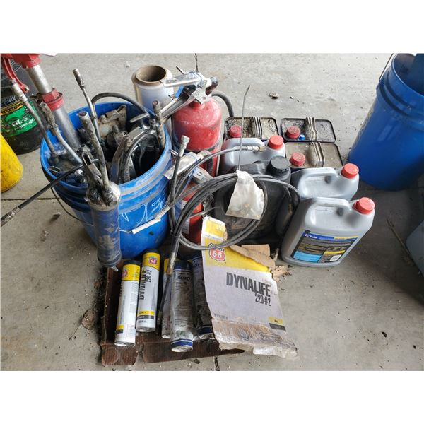 PAIL OF GREASE GUNS, BARREL PUMP, FIRE EXTINGUISHERS, GREASE TUBES, COOLANT & WD-40