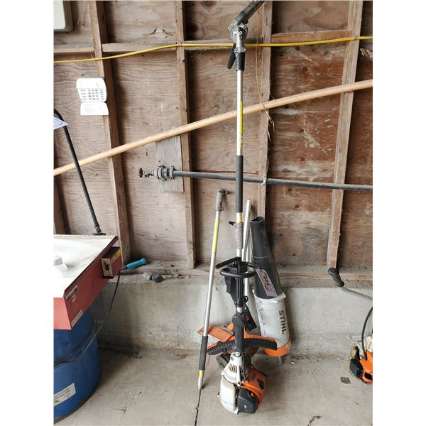 STIHL KM 90 R GAS POWERED HEDGE TRIMMER WITH EXTENSION & 3 ATTACHMENTS