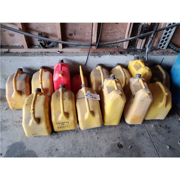 12 ASSORTED SIZED PORTABLE DIESEL CANS, 2 ASSORTED SIZED GAS CANS & 3 BAGS OF FLOOR DRY