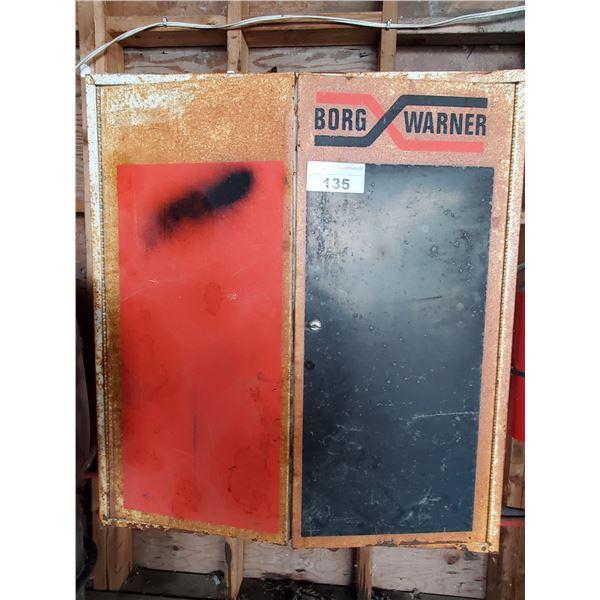 """BORG WARNER 2 DOOR METAL WALL HANGING STORAGE CABINET 32""""W X 13""""D X 36""""H"""