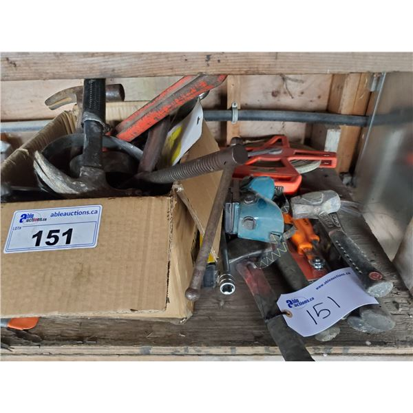 BOX OF ASSORTED HAND TOOLS, HAMMERS, PIPE WRENCH, WELDING GOGGLES & MEASURING TAPE