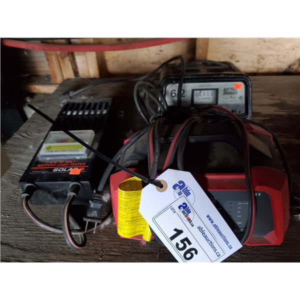 2 ELECTRIC BATTERY CHARGERS & BATTERY LOAD TESTER