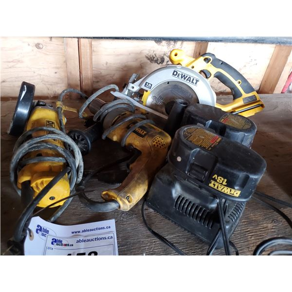 """ASSORTED DEWALT POWER TOOLS, 18V CORDLESS SAW, 2 BATTERIES, 2 CHARGERS, ELECTRIC 1/2"""" DRILL &"""