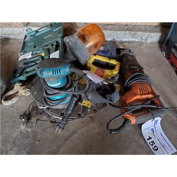 RIDGID ELECTRIC RECIPROCATING SAW, MAKITA ELECTRIC PALM SANDER, & ASSORTED POWER TOOLS
