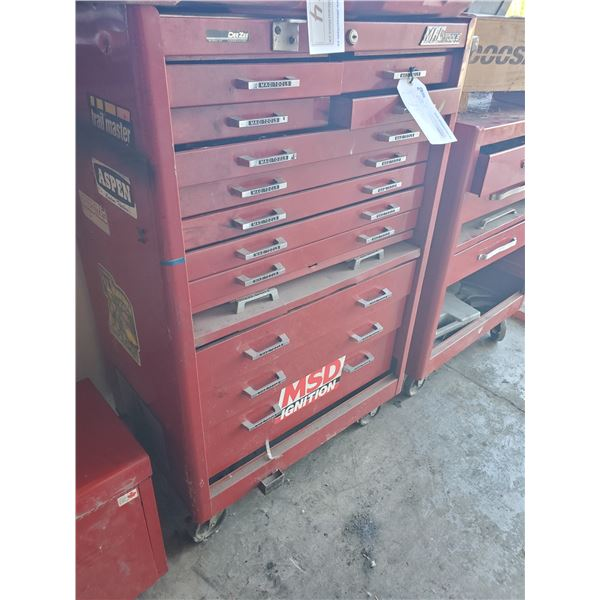 """RED METAL MOBILE MACTOOLS TUFFBOX WITH 12 DRAWERS AND CONTENTS W29"""" X D18"""" X H42"""""""