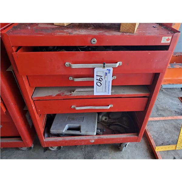 """RED METAL MOBILE BEACH TOOL BOX WITH 3 DRAWERS AND CONTENTS W27"""" X D18"""" X H34"""""""