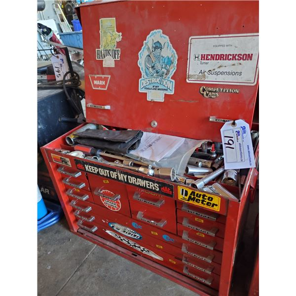 """RED METAL MACTOOLS TOOL BOX WITH 12 DRAWERS AND CONTENTS W26"""" X D17"""" X H20"""""""