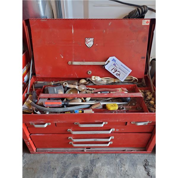 """RED METAL BEACH  TOOL BOX WITH 6 DRAWERS AND CONTENTS W26"""" X D12"""" X H14"""""""