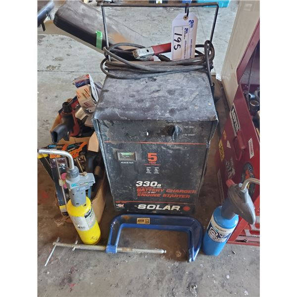 SOLAR 330A 40/20/2 AMP 12V BATTERY CHARGER, 2 PROPANE BLOW TORCHES, ASSORTED HAND TOOLS AND