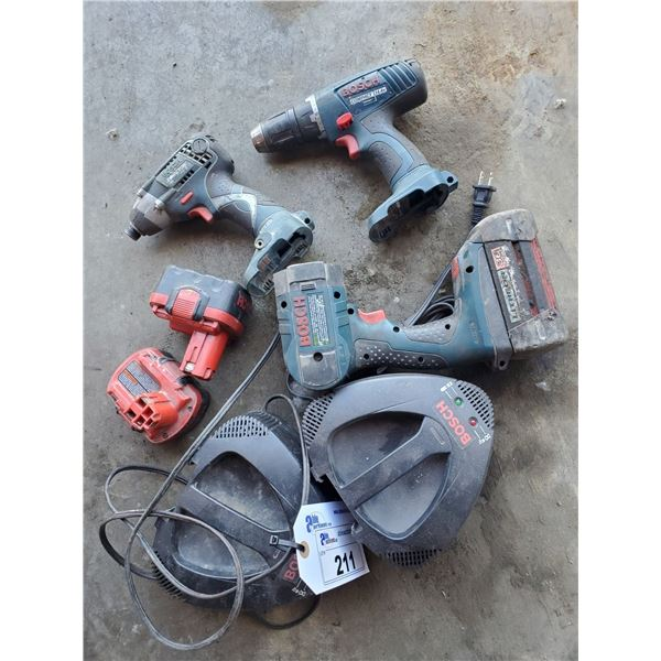 2 BOSCH DRILLS AND WORK LIGHT WITH 2 CHARGERS AND 3 BATTERIES