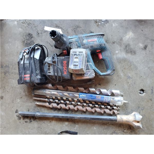 BOSCH HAMMER DRILL WITH 2 BATTERIES, 2 CHARGERS AND ASSORTED DRILL BITS