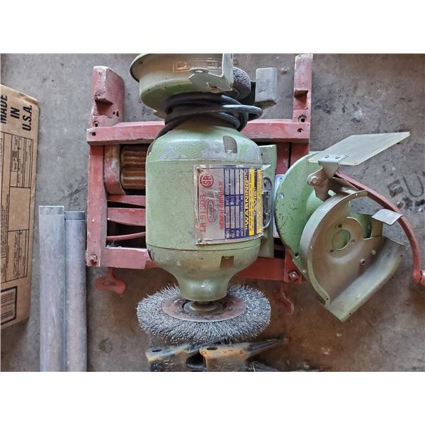 BRICO DUAL BENCH GRINDER AND RED HAND CRANKED ANTIQUE CLOTHES WRINGER