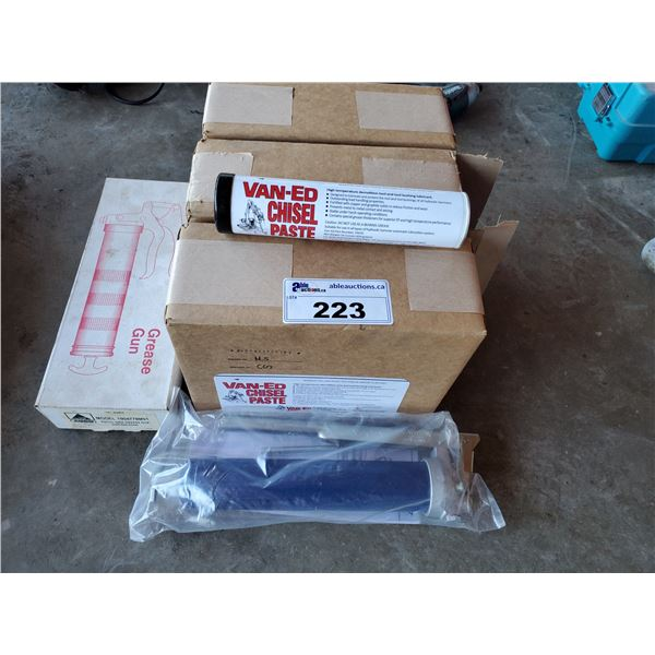 3 BOXES OF VAN-ED CHISEL PASTE AND 2 GREASE GUNS