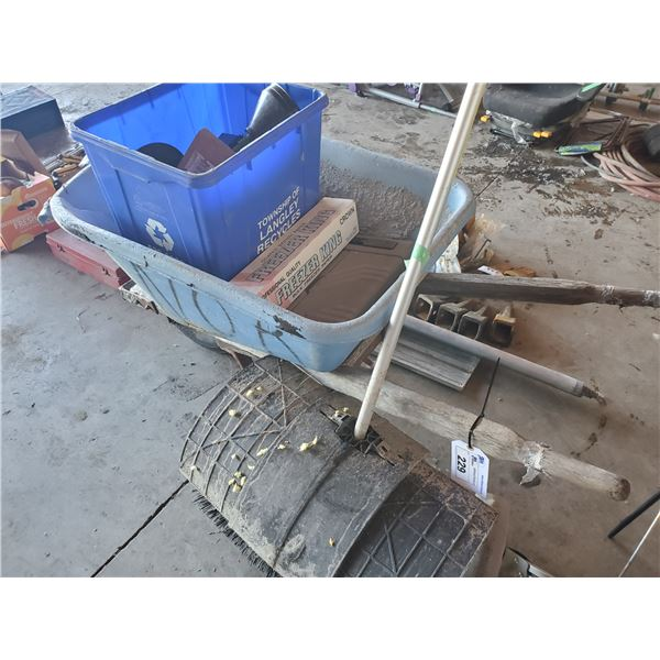 WHEELBARROW WITH CONTENTS, WALK BEHIND SWEEPING BRUSH AND CEMENT FLOAT TOOL