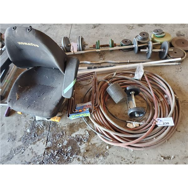 AIR HOSE, ADJUSTABLE TRACTOR SEAT AND EXTENDABLE POLES