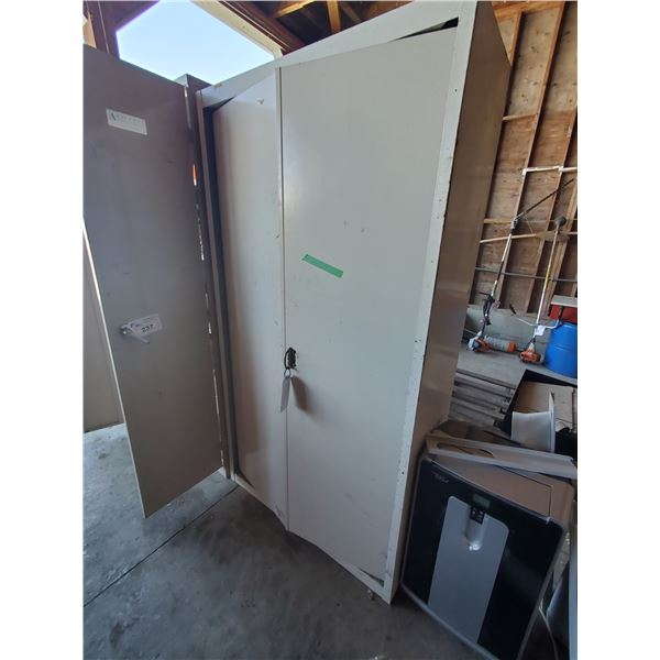 """WHITE METAL 2 DOOR 4 TIER STORAGE CABINET WITH CONTENTS W42"""" X D19"""" X H78"""" (MUST TAKE ALL)"""