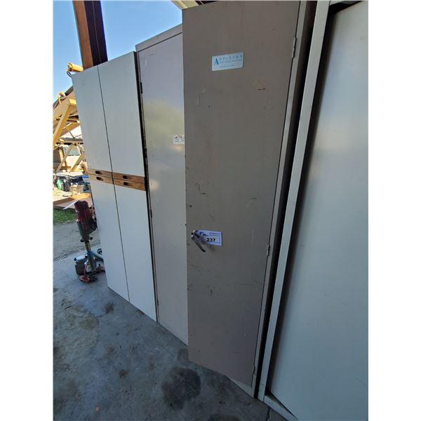 "BEIGE METAL 2 DOOR 5 TIER STORAGE CABINET WITH CONTENTS W36"" X D18"" X H81"" (MUST TAKE ALL)"