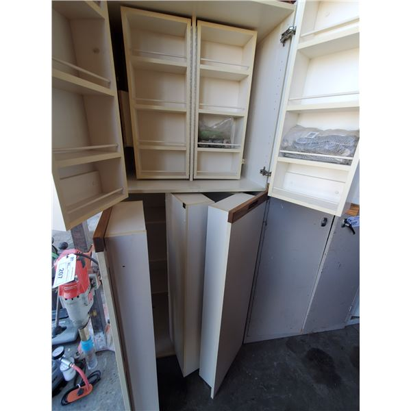 """WHITE WOOD 4 DOOR STORAGE CABINET WITH CONTENTS W32"""" X D25"""" X H80"""" (MUST TAKE ALL)"""