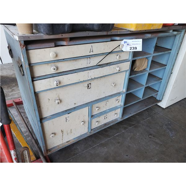 BLUE WOOD MOBILE WORK BENCH WITH 7 DRAWERS AND CONTENTS (MUST TAKE ALL)