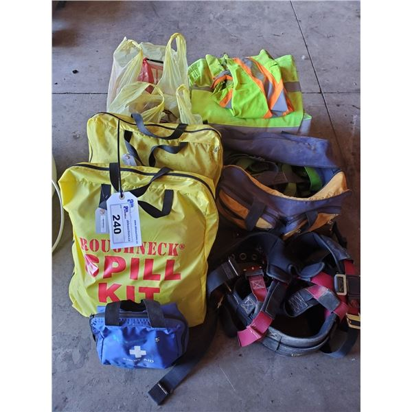 ASSORTED SAFETY EQUIPMENT INCLUDING 2 SPILL KITS, FIRST AID KIT, SAFETY HARNESSES, REFLECTIVE VEST