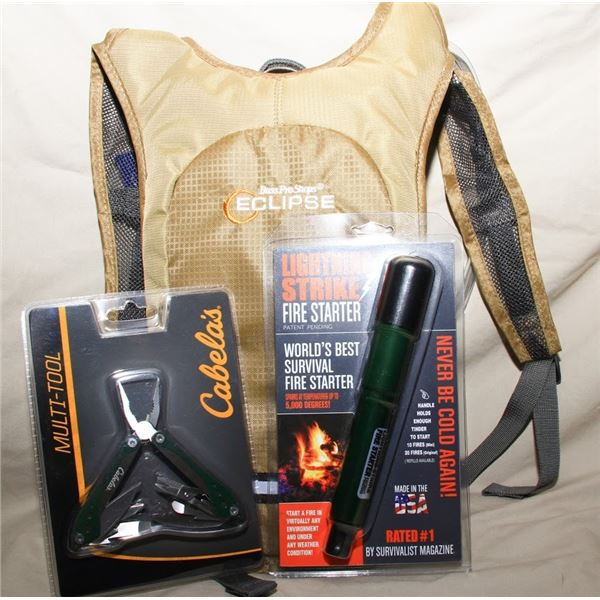 Tan Backpack, Multi-tool, Firestarter (set of 3 things)