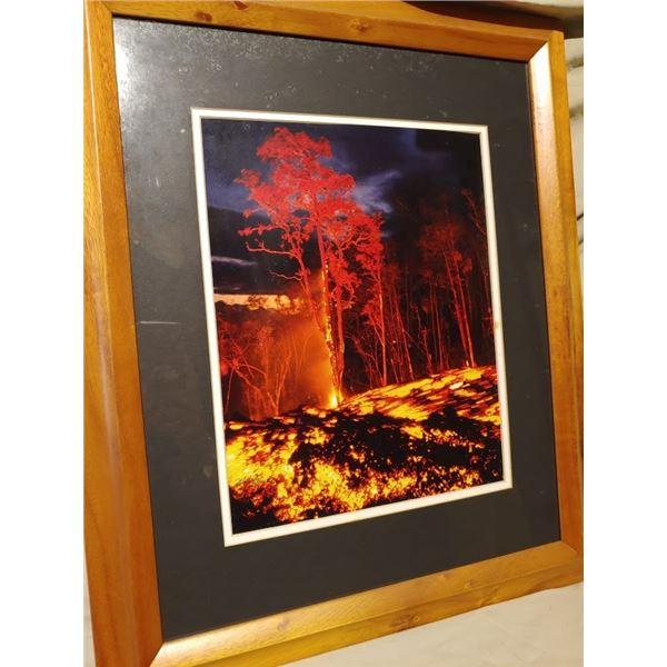 "20""x24"" Kilauea Eruption Photograph in Koa Frame"
