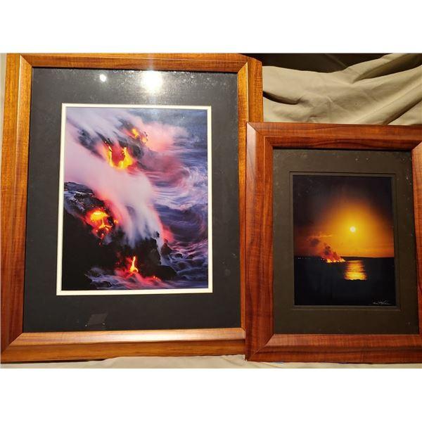 Kilauea Eruption Moonrise-Set of (2) Framed Photographs