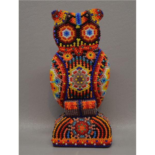HUICHOL BEADED OWL