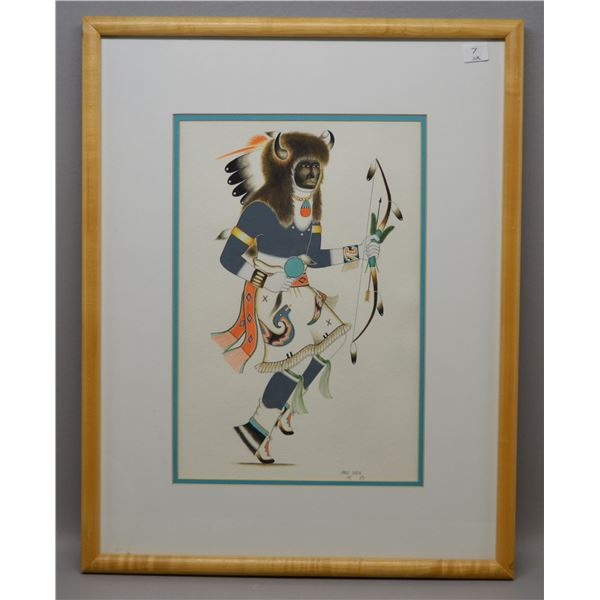 NATIVE AMERICAN TESUQUE  PAINTING BY PAUL VIGIL