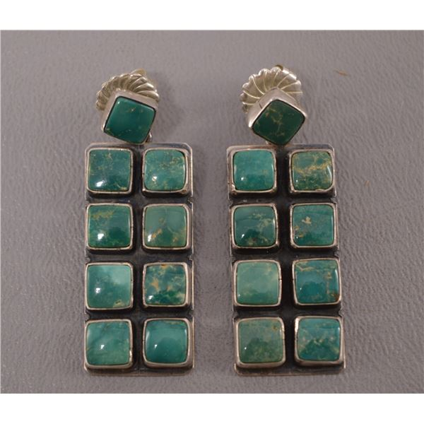 NATIVE AMERICAN NAVAJO SILVER AND TURQOUISE EARRINGS