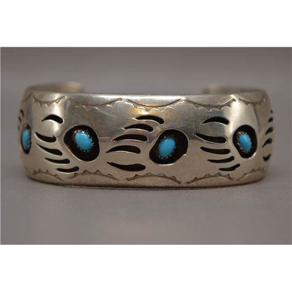 NATIVE AMERICAN NAVAJO SILVER AND TURQOUISE BRACELET BY PF ARLENE SPENCER
