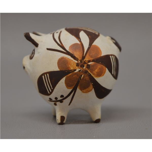 NATIVE AMERICAN ACOMA POTTERY PIG BY ROSE