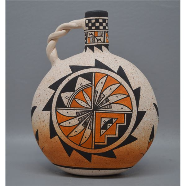 NATIVE AMERICAN ACOMA POTTERY CANTEEN BY W/B