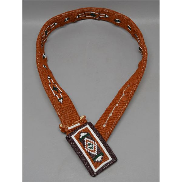 NATIVE AMERICAN PLAINS BEADED BELT AND BUCKLE